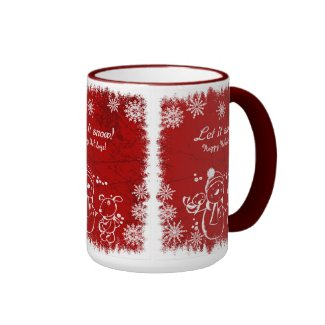 Red And White Chalk Snowman-Let It Snow Ringer Coffee Mug