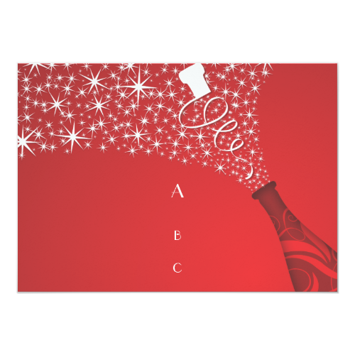 Red and White Champagne Divorce Invitation