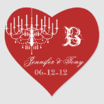 Red and White Chandelier Custom Heart Stickers
