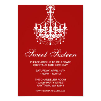 Red and White Chandelier Sweet Sixteen Birthday Card
