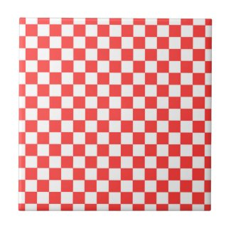 Red and White Check Ceramic Tile