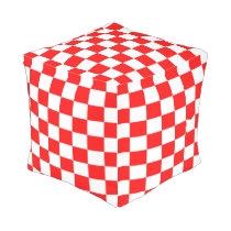 Red and White Checked Footstool Outdoor Pouf