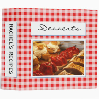 Red and White Checked Plaid Background Desserts Vinyl Binders