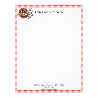 Red and White Checked Plaid Dessert Letterhead