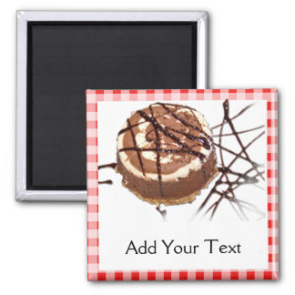 Red and White Checked Plaid Dessert 2 Inch Square Magnet