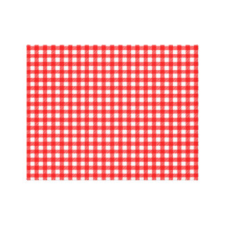 Red and White Checked Tablecloth Pattern Gallery Wrapped Canvas