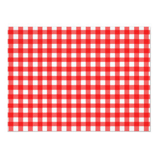 """Red and White Checked Tablecloth Pattern 5.5"""" X 7.5"""" Invitation Card"""