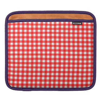 Red and White Checked Tablecloth Pattern Sleeves For iPads