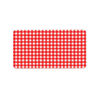 Red and White Checked Tablecloth Pattern Personalized Address Labels