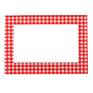 Red and White Checked Tablecloth Pattern Magnetic Picture Frame