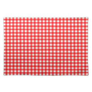 Red and White Checked Tablecloth Pattern Cloth Placemat