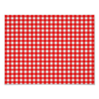 Red and White Checked Tablecloth Pattern Poster