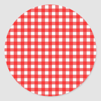 Red and White Checked Tablecloth Pattern Classic Round Sticker