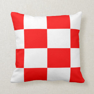 red and white checker board  pattern throw pillow