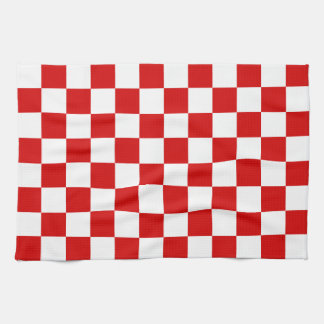 Red and White Checker Pattern Towels