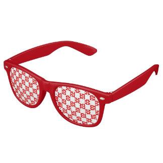 Red and white checkerboard pattern retro sunglasses