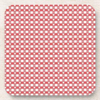 Red and White Checkerboard w/ Hearts Cork Coasters