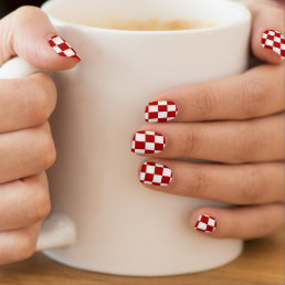 Red and White Checkered Checkerboard Girly Minx Nail Wraps