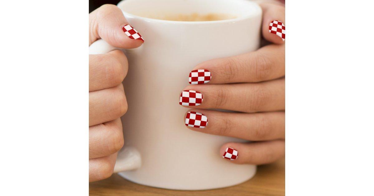 Red and White Checkered Checkerboard Girly Minx Nail Wraps | Zazzle.com