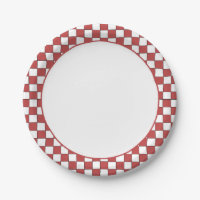 Red and White Checkered Gingham. Paper Plates  sc 1 st  Zazzle & Red And White Gingham Plates | Zazzle