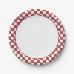Red and White Checkered Gingham Paper Plate ...  sc 1 st  Zazzle & Red Gingham Checkered Plates | Zazzle