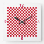 Red and White Checkered Kitchen Clock Numbers