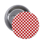 Red and White Checkered Pattern Country BBQ Colors 2 Inch Round Button