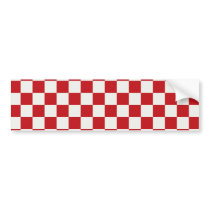 Red and White Checkered Pattern Country BBQ Colors Bumper Sticker