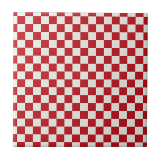 Red and White Checkered Pattern Country BBQ Colors Ceramic Tile