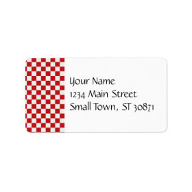 Red and White Checkered Pattern Country BBQ Colors Personalized Address Label