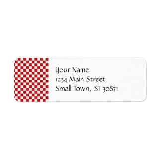 Red and White Checkered Pattern Country BBQ Colors Label