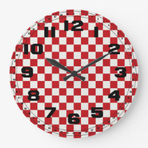 Red and White Checkered Pattern Country BBQ Colors Large Clock
