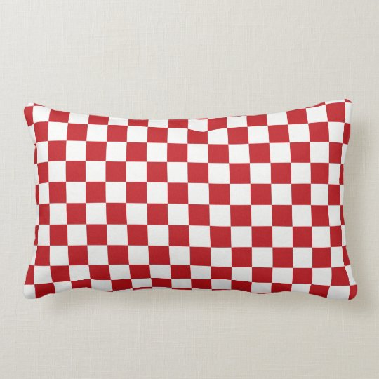 Red and White Checkered Pattern Country BBQ Colors Lumbar Pillow