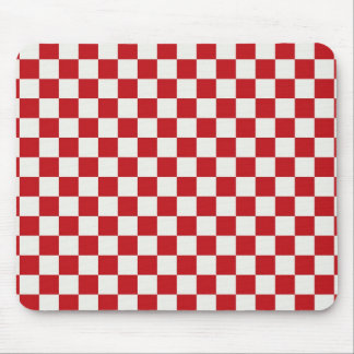 Red and White Checkered Pattern Country BBQ Colors Mouse Pad
