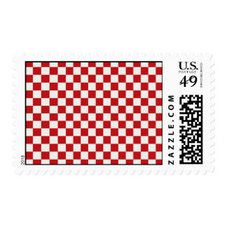 Red and White Checkered Pattern Country BBQ Colors Postage