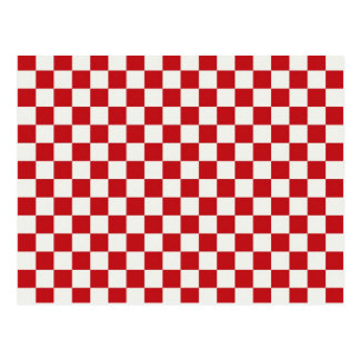 Red and White Checkered Pattern Country BBQ Colors Postcard