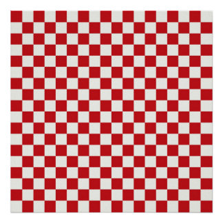 Red and White Checkered Pattern Country BBQ Colors Poster