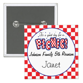 Red and White Checkered | Picnic 2 Inch Square Button