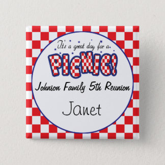 Red and White Checkered | Picnic Reunions Pinback Button