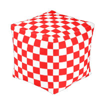 Red and White Checkered Pouf