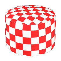 Red and White Checkered Round Pouf