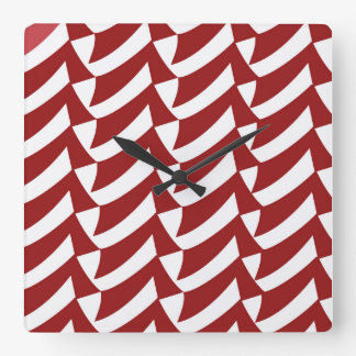 Red and White Checkmarks Square Wall Clock