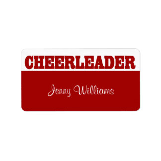 Red and White Cheerleader Name Stickers
