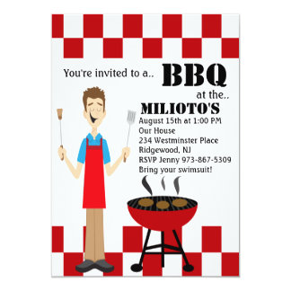 Red and White Chef on Grill Barbecue Invitation