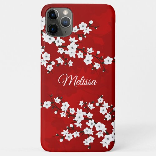 Red And White Cherry Blossom Floral Monogram Phone Case