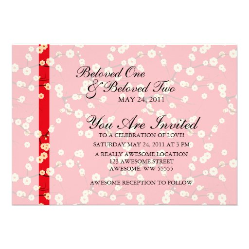Red and White Cherry Blossoms Custom Announcements