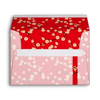 Red and White Cherry Blossoms Envelope envelope