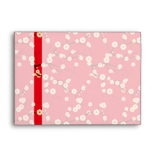 Red and White Cherry Blossoms Envelope