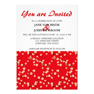 Red and White Cherry Blossoms Personalized Invitations