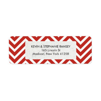 Red and White Chevron Label
